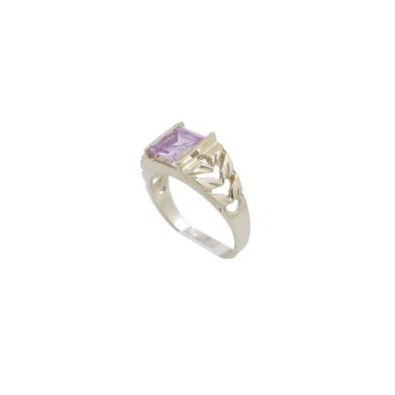10k Yellow Gold Syntetic pink gemstone ring ajjr52 Size: 2.25 1