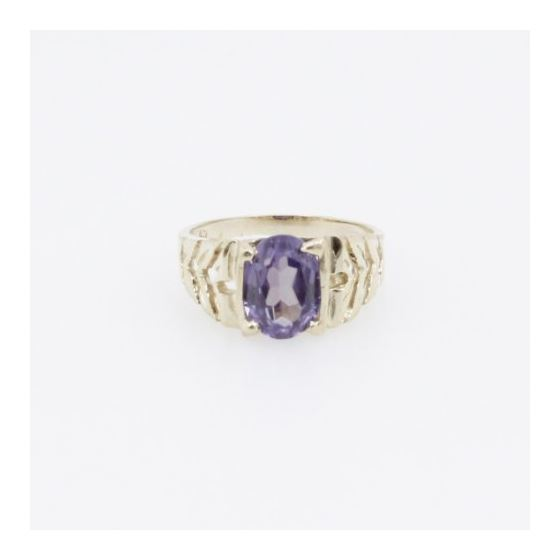 10k Yellow Gold Syntetic purple gemstone ring ajr21 Size: 2.25 3