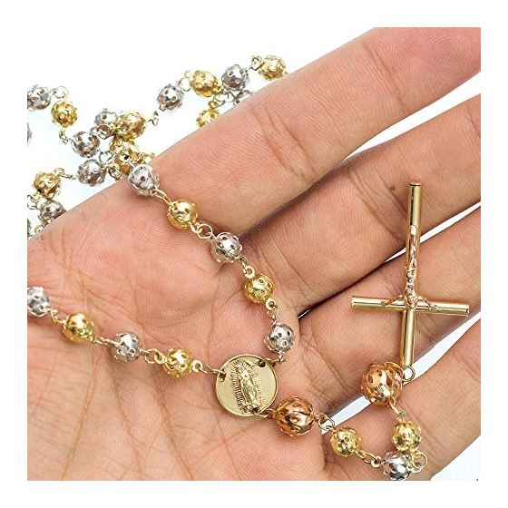10K 3 TONE Gold HOLLOW ROSARY Chain - 28 Inches Long 6MM Wide 3