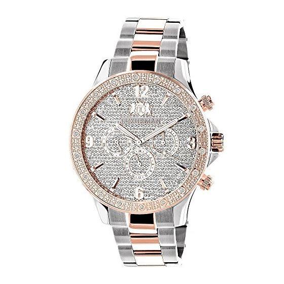Luxurman Mens Real Diamond Watch Two-Ton 90400 1