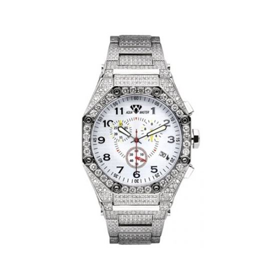 Aqua Master Diamond Watch The AquaMaster Octagon Watches Stainless Steel with Diamonds 2-7W