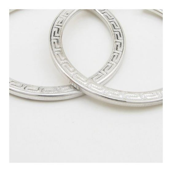 Round greek key hoop earring SB87 33mm tall and 32mm wide 3
