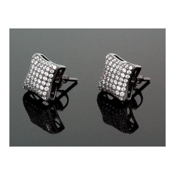 Sterling Silver Unisex Fashion Hand Set Stud Earrings ME0216e 1