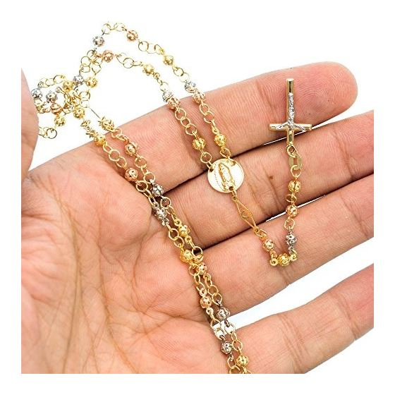 14K 3 TONE Gold HOLLOW ROSARY Chain - 30 Inches Long 3.6MM Wide 3
