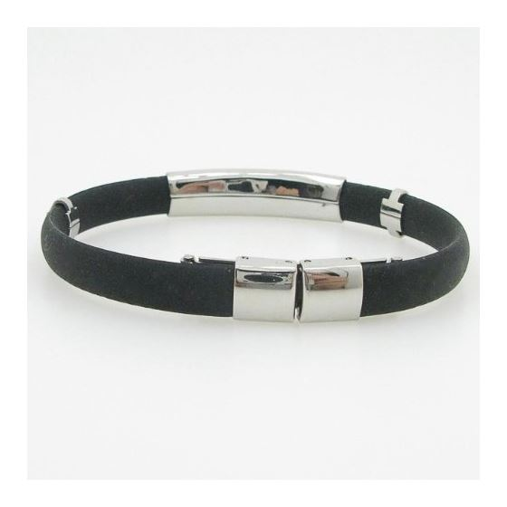 """Stainless Steel and Rubber Greek Key Bracelet 8"""" 3"""