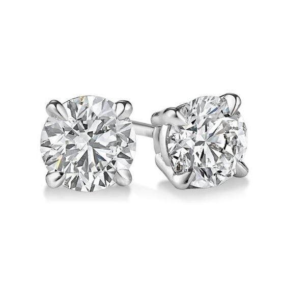 Gold Round Cut Diamond Stud Earrings 0.5 73369 1