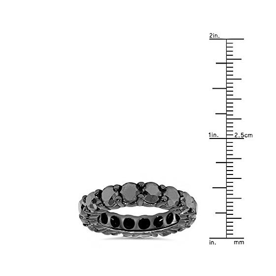 14K Black Gold Band Black Diamond Eternity Ring-3