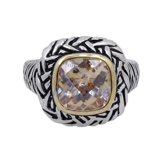 """Ladies .925 Italian Sterling Silver Spring citrine synthetic gemstone ring SAR30 6"