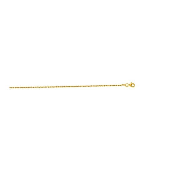 10K 20 inch long Yellow Gold 1.5mm wide Shiny Solid Diamond Cut Royal Rope Chain with Lobster Clasp