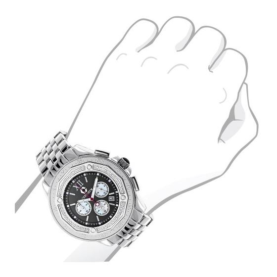 Centorum Unique Falcon Mens Real Diamond Watch 0.55ct White MOP Chronograph 3