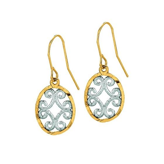 10K Yellow White Gold Ladies Drop Earrings 500ER