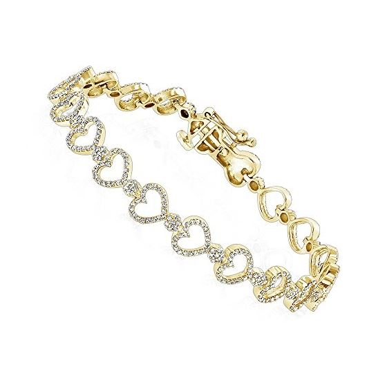 Unisex 14K Natural 1.6 Ctw Diamond Heart Bracelet