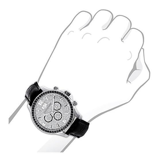 Luxurman Watches Black Diamond Watch 3ct 89584 3