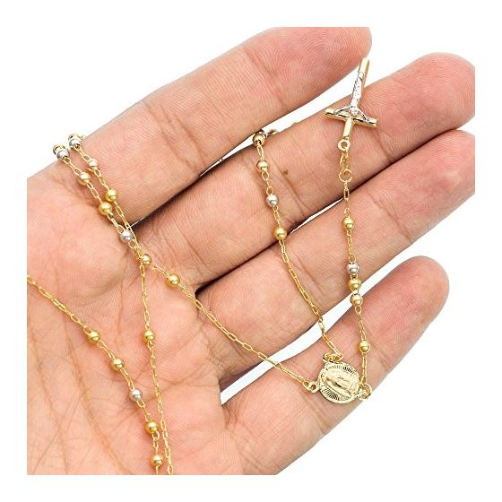 14K 2TONE Gold HOLLOW ROSARY Chain - 28 Inches Long 2.9MM Wide 3