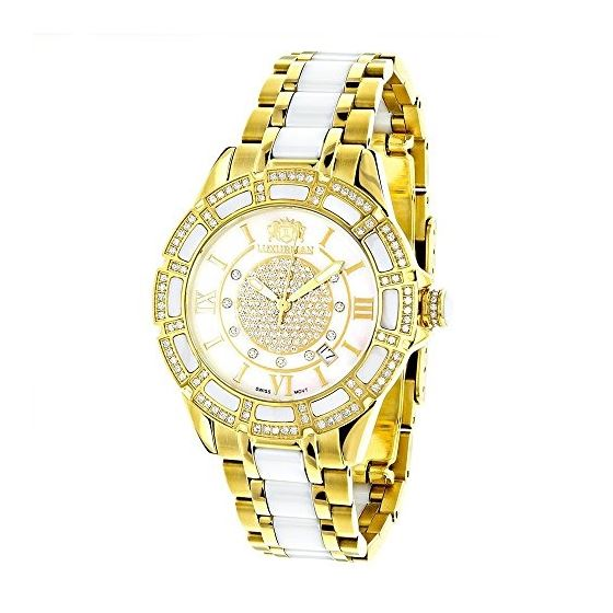 Luxurman Ladies Real Diamond Ceramic Wat 90202 1
