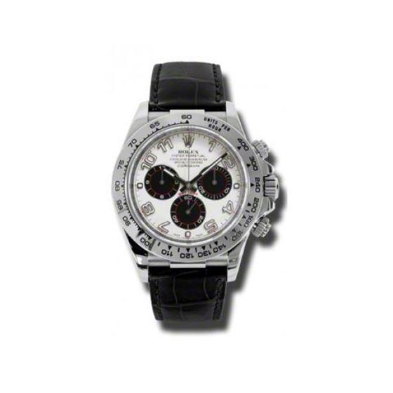 Rolex Watches Daytona White Gold Leather Strap 116519 Wa