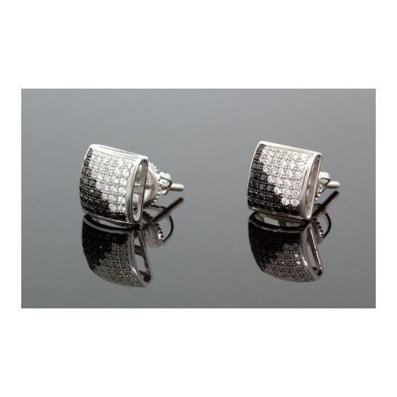 .925 Sterling Silver White Square White and Black Onyx Crystal Micro Pave Unisex Mens Stud Earrings