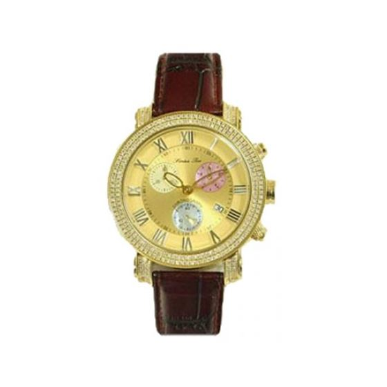 Burgundy Leather Band Gold