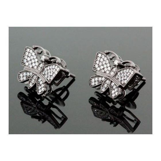 Sterling Silver Butterfly Fashion Hand Set Stud Earrings ME0210 1