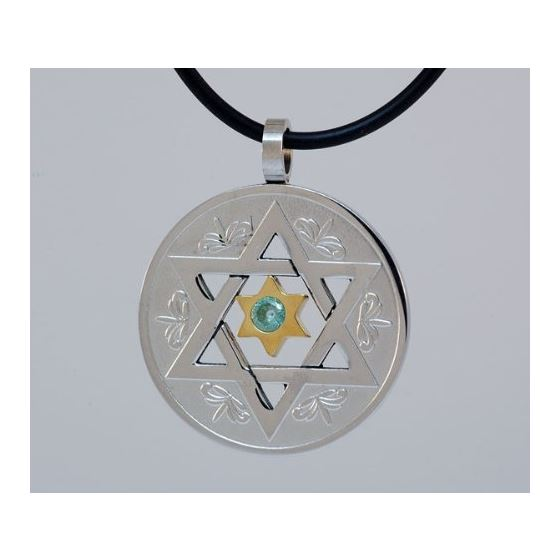 Stainless Steel Star of David Circle Pendant 1