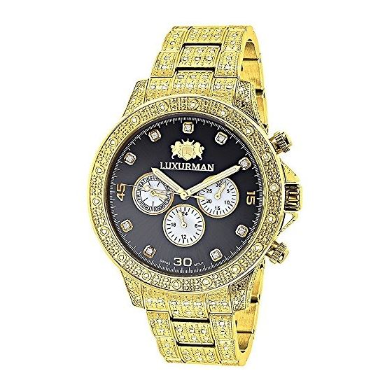 Swiss Movement Iced Out Mens Diamond Watch 1.25Ctw