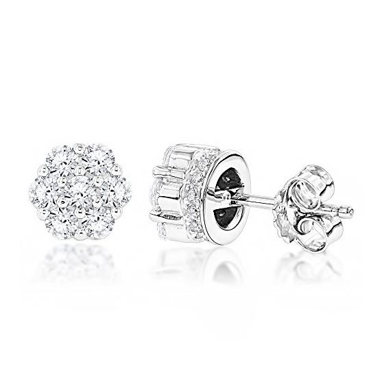 Sterling Silver Rhodium Plated Round Cubic Zirconia Cluster CZ Stud Earrings 1