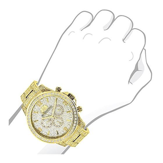 Iced Out Mens Diamond Watch 3Ct Yellow Gold Plat-3