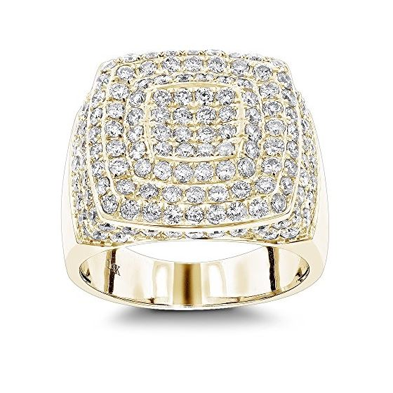 14K Gold Unique Mens Diamond Ring 3.5Ct Pave Set R