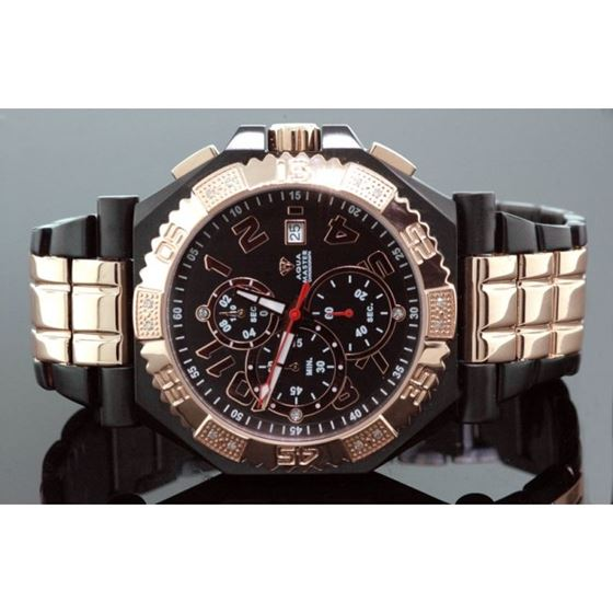 Aqua Master Mens Swiss Made Rose Gold Sp 53557 1