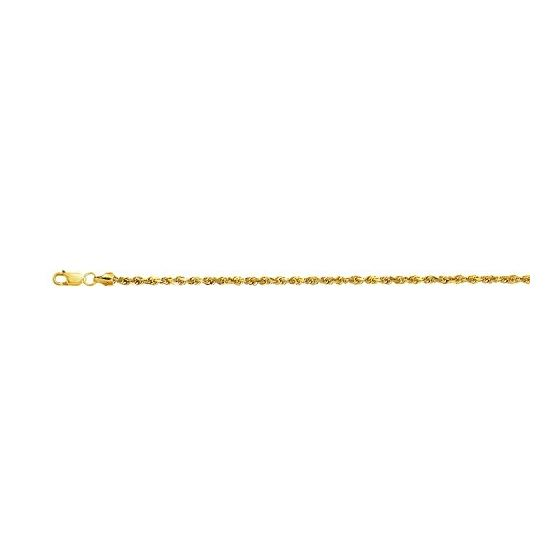 10K 20 inch long Yellow Gold 2.5mm wide Diamond Cut Hollow Sparkle Rope Chain with Lobster Clasp