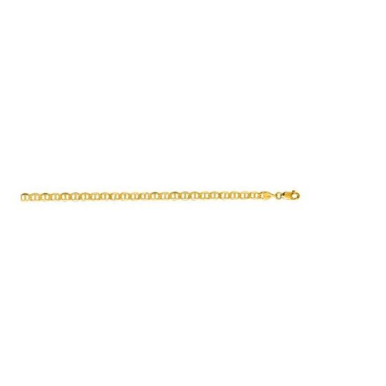 10K Yellow Gold 4.50mm Diamond Cut Mariner Link Chain Bracelet with Lobster Clasp
