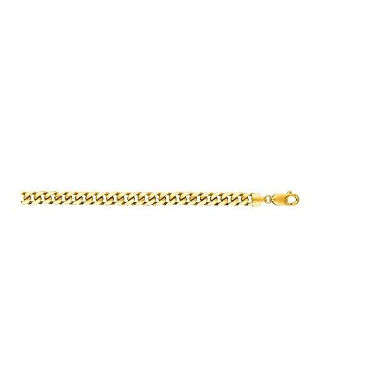 14K Yellow Gold 6.7mm wide Diamond Cut Miami Cuban Link Chain with Lobster Clasp