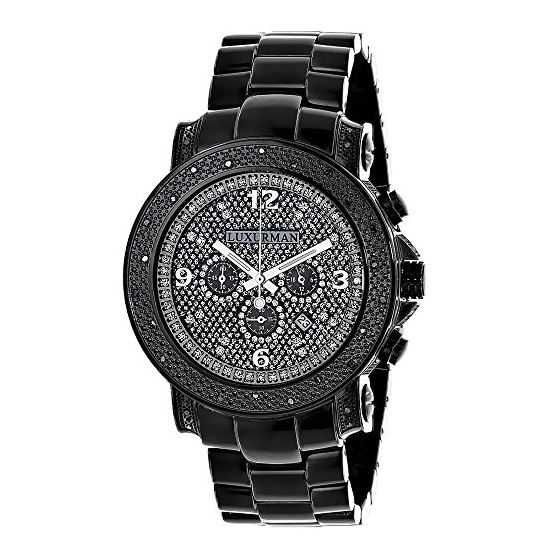 Mens Oversized Heavy Black Real Diamond Watch by LUXURMAN 0.75ct Chronograph 1