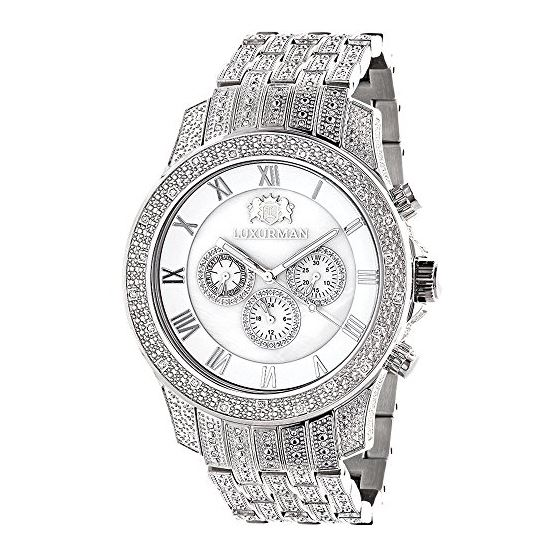 Mens Genuine Diamond Watch 1.25ct Chronograph White Mother of Pearl by Luxurman 1