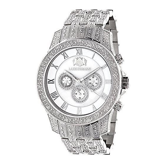 Mens Genuine Diamond Watch 1.25ct Chrono 90961 1