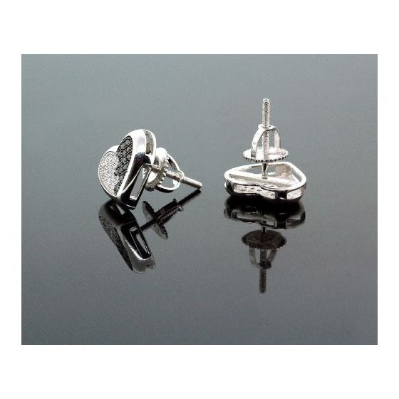 .925 Sterling Silver White Heart White and Black Onyx Crystal Micro Pave Unisex Mens Stud Earrings 3