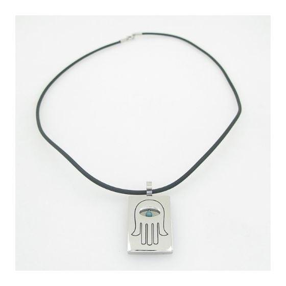 Unisex genuine leather braided crystal necklace pendant fancy jewelry hamsa pendant leather necklace