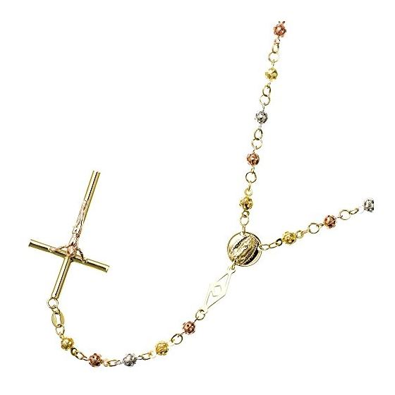 10K 3 TONE Gold HOLLOW ROSARY Chain - 28 Inches Long 4.1MM Wide 1