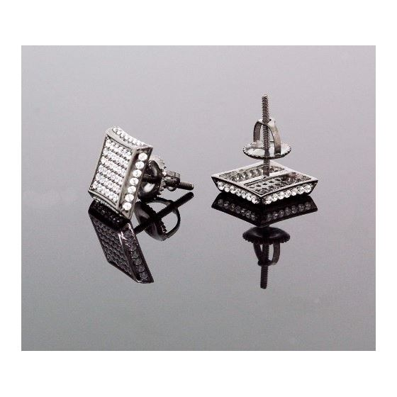 .925 Sterling Silver Black Square White Crystal Micro Pave Unisex Mens Stud Earrings 3