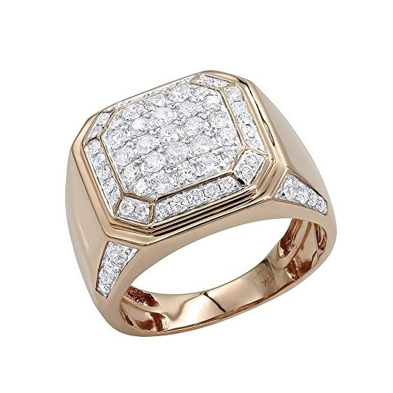 Mens 10K Gold Diamond Wedding Band Pinky Ring 2Ctw