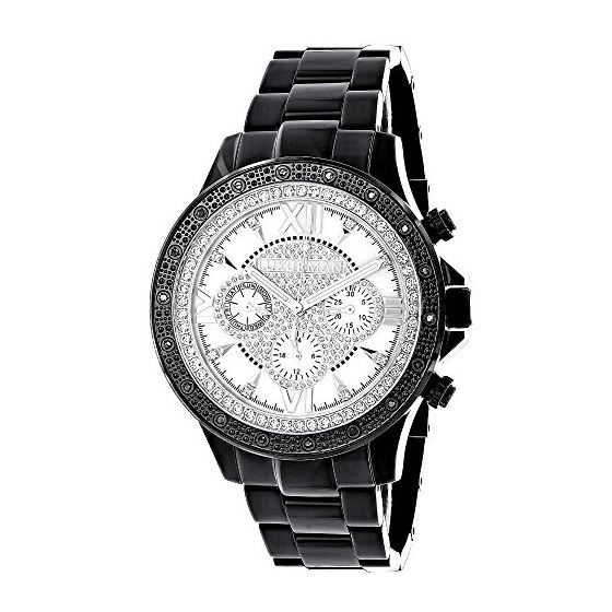 Liberty by Luxurman Mens Real Diamond Watch 0.2ct Black Tone Stainless Steel 1