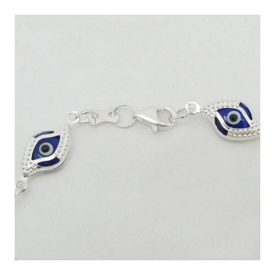 """Sterling Silver Fashion Small Multi-Colored Guardian Evil Eye Bracelet"