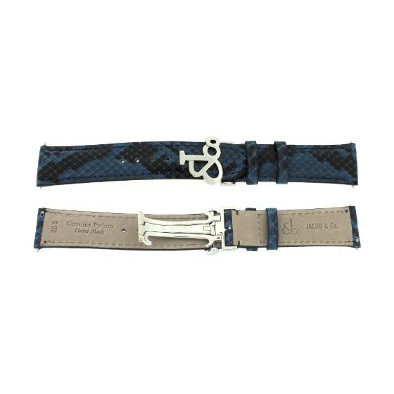 Jacob Co. Genuine Real Python Blue Short Band Stra