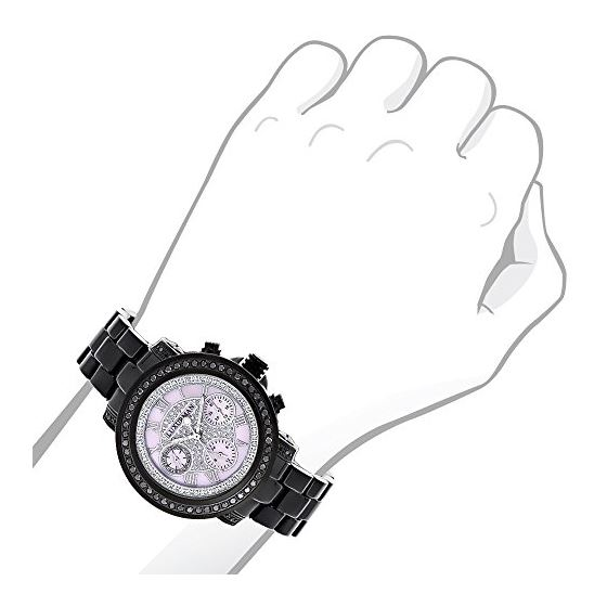 Ladies Diamond Watches: Luxurman Real Black Diamond Watch 2.15 Carats Pink Dial 3