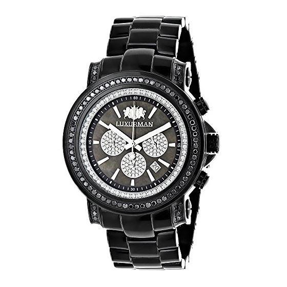 Escalade Oversized Mens Real Black Diamond Watch by Luxurman 3ct Chronograph 1