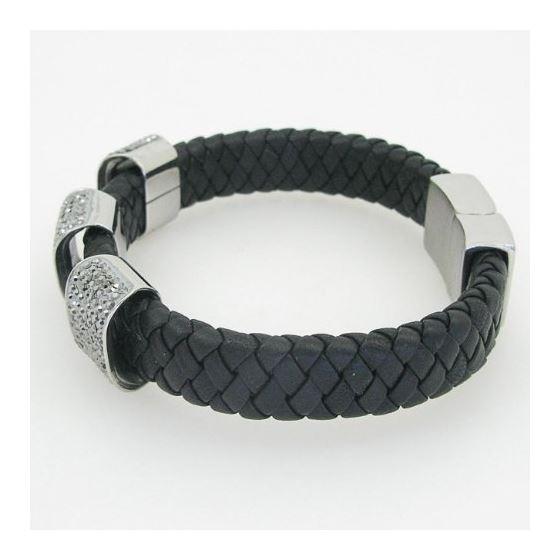Womens genuine leather braided cuff crystal bracelet bangle fashion jewelry swag 3