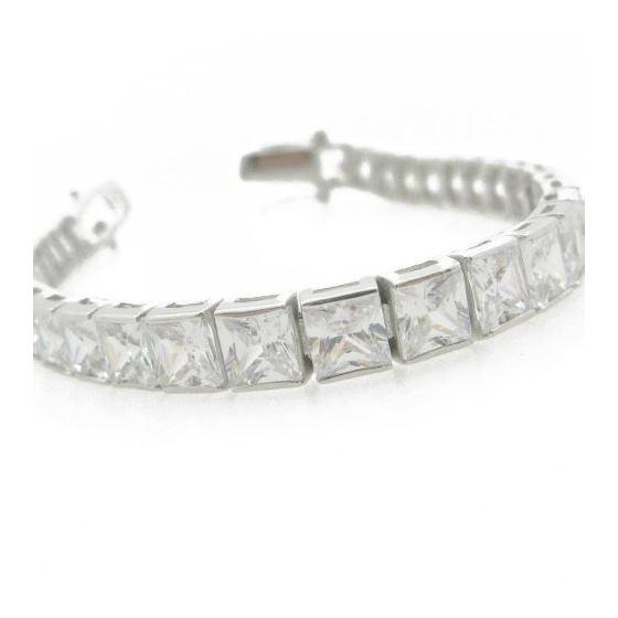 Ladies .925 Italian Sterling Silver princess cut cz tennis bracelet Length - 7 inches Width - 6mm 1