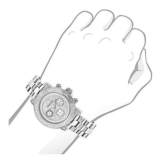 Iced Diamond Watches 0.3ct Luxurman Diamond Watch For Women White Gold Plated 3
