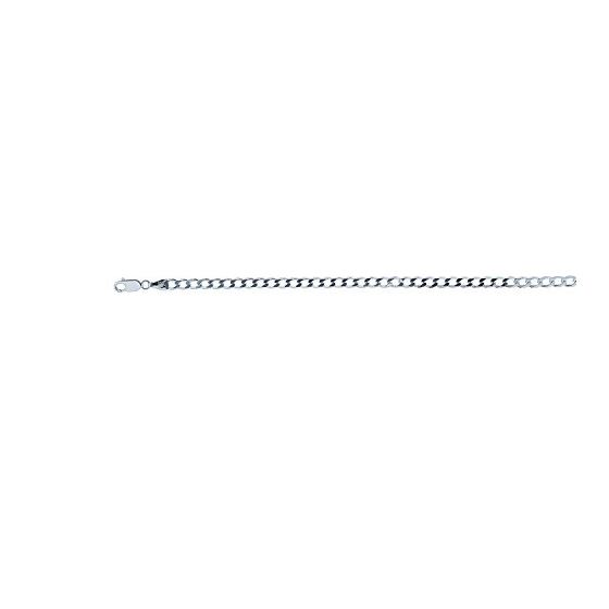 Sterling silver 3.7 mm Wide Polished Diamond Cut Curb Chain 18 Inch Long