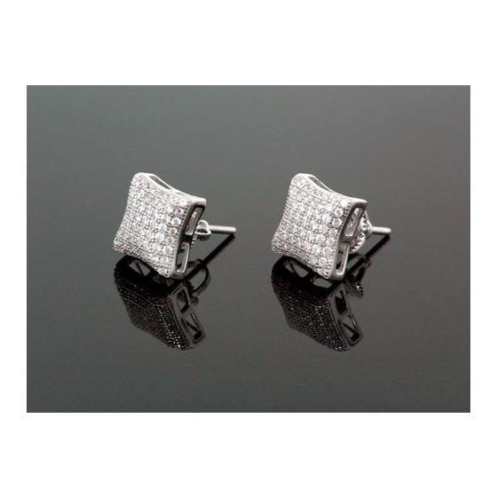 Sterling Silver Unisex Fashion Hand Set Stud Earrings ME0217c 1